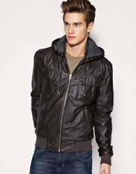 image 1 of asos hooded leather jacket