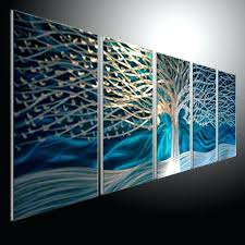 metal artwork for wall original metal art blue tree wall sculpture metal painting wall oil abstract art refraction line in crafts from home garden on metal
