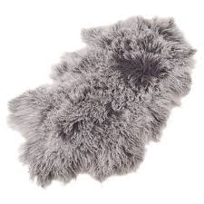 saro lifestyle mongolian lamb fur 100 wool throw rug 20 x 35 charcoal ksa souq