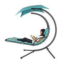 com best choice s hanging chaise lounger chair arc stand air porch swing hammock chair canopy teal garden outdoor