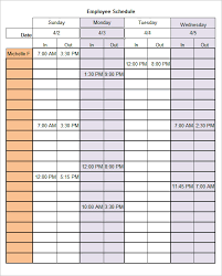Sample Of Schedules Work Schedules Examples Magdalene Project Org