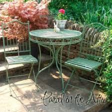 metal bistro set. Livorno Wrought Iron Bistro Set - Table \u0026 2 Folding Chairs In Green Metal