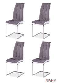 Details Zu 4er Set Esszimmerstuhl Grau Weiß Freischwinger Stuhl Küchenstuhl Modern 161420