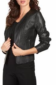 frank lyman vegan leather moto jacket front cropped image