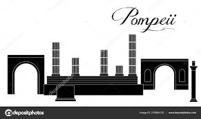 Illustration Style Flat Design Theme Pompeii Stock Vector
