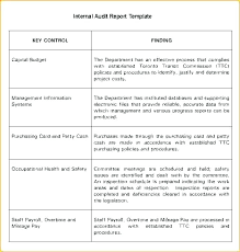 Internal Audit Report Template Awesome Templates Unique