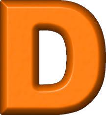 D D Item Template Presentation Alphabets Orange Refrigerator Magnet D
