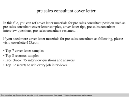 Pre Sales Consultant Cover Letter Gallery For Website Technical
