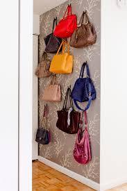 purse storage ideas beautful gray patterned wallpaper purse display artistic storage idea sy black purse hooks
