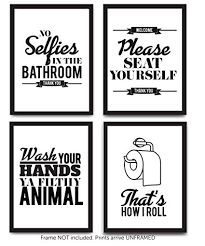 Amazon.com: Typography Bathroom UNFRAMED Wall Art & Pictures | Set ...