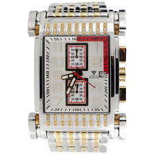 men s jojo rodeo watches mens diamond watch aqua master jojo jojino joe rodeo two tone 0 25 ct w 330