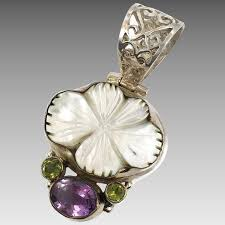 shell pendant amethyst peridot sterling silver mother of pearl invintageheaven ruby lane