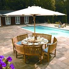 outdoor dining set with umbrella table round hole