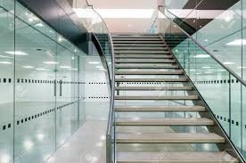 Office Stairs Metal Staircase In Modern Open Plan Office Building Stock Photo