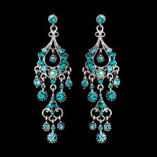 promise antique silver crystal chandelier earrings teal