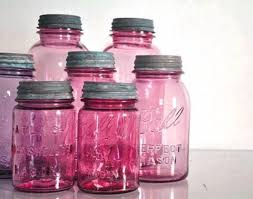 Do pink vintage canning jars really exist? I think you tint modge podge to  the color you want and paint inside the jar?