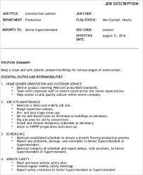 Construction Laborer Job Description Sample - 8+ Examples In Word, Pdf