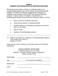 Fillable Online Medicalboard Georgia Form G Request For Verification