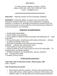 Production Assistant Job Description Resume Film Template Sample