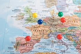 Europe Map Pinpoint Marking For Your Planning To Travel Trip