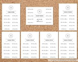 Table Chart Template Word Seating Chart Template Classic Monogram Design Diy