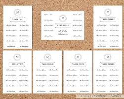 Wedding Seating Chart Template Word Seating Chart Template Classic Monogram Design Diy