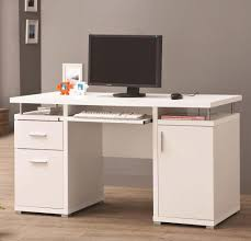 white computer desk with file drawers for home office