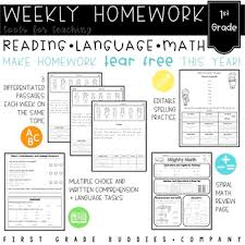 Weekly Homework 1st Grade Differentiated Weekly Homework With Reading Comprehension Math