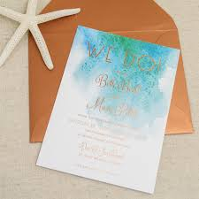 these modern beach themed wedding invitations feature a watercolor design reflecting the seaside beauty without having