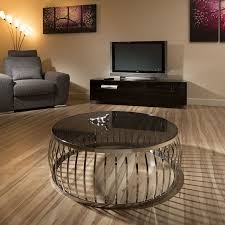 modern designer large round coffee table glass top stainless steel 165