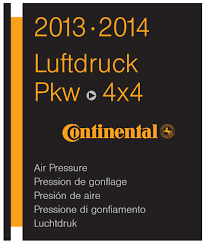 Air Pressure Chart Continental Tyre Air Pressure Table For Passenger Cars And