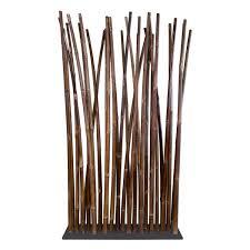 black bamboo room divider on steel base plate  x  cm