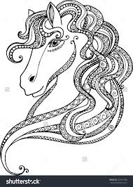 hand drawn decorative horse head ilration horse drawing with abstract doodle zentangle ornaments