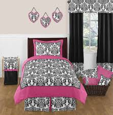 sweet jojo designs pink black white damask twin size teen kid girl bedding set