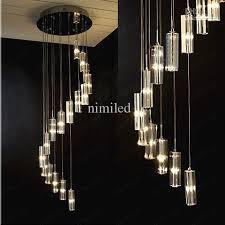 Modern Minimalist Fashion Transparent Crystal Block S-shaped Duplex  Staircase Pendant Chandelier Lighting Lamps Light For Hotel Droplight