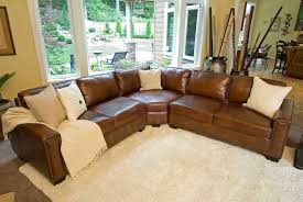 light brown full grain leather corner sofa