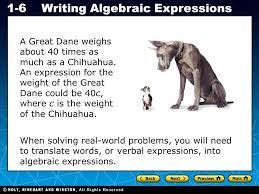 holt ca course 1 1 6writing algebraic expressions a great dane weighs about 40 times