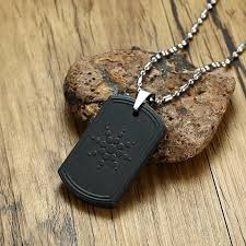 whole quantum scalar energy bio science pendant necklace for men dog tag japanese technology volcanic lava radiation protection jewels diamond pendant