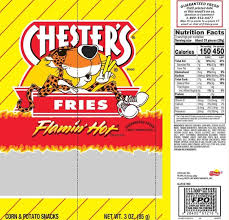 this updated nutrition facts label for chester s flamin hot fries provides nutrition information in a