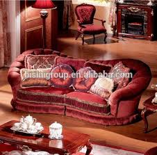 red velvet sofa. Luxury French Versailles Red Velvet Three Seat Couch, Noble Palace Style Sofa BF11 C