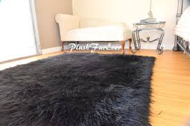 5 x 7 black mongolian faux fur area rug fake fur rectangle sheepskin plush