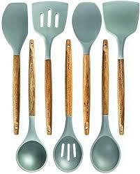 silicone cooking utensils kitchen utensil set 7 natural acacia wooden best