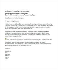 Example Of Reference Sample Reference Letter For Employee Useful Template Example Job