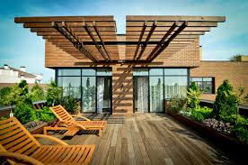 Decorations:Fascinating Terrace Roof Design With Unique Wooden Floor  Amazing Terrace Roof Decor With Wooden