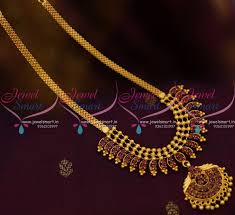 nl8855 beads design pendant flat chain ruby stones simple necklace gold plated