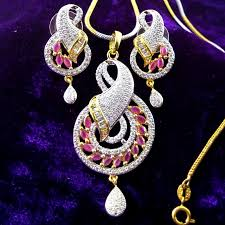 ruby american diamond gold plated chain pendant earring set crazyberry artificial imitation jewellery fashion jewellery