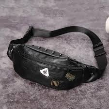 Men's Waist Fanny Pack Belt Bag PU Leather <b>Outdoor Sports Small</b> ...