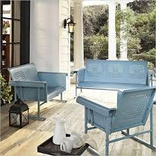 Crosley Furniture Veranda 3 Piece Glider Set in Caribbean Blue