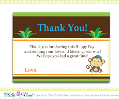 Baby Card Notes Boy Monkey Baby Shower Birthday Thank You Note Card Thank You Tag Diy Only Digital File Ao01