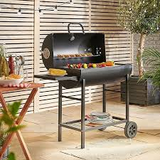 tesco direct vonhaus 105cm charcoal barrel bbq with side table